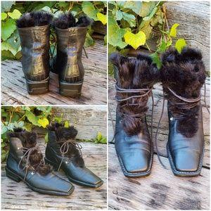 🥀STUART WEITZMAN Blk Leather & Fur Boots Sz 7.5